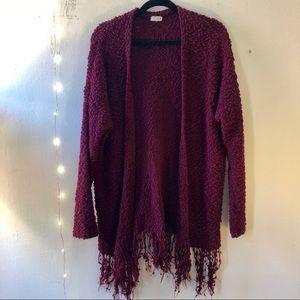 Burgundy Fringe Sweater